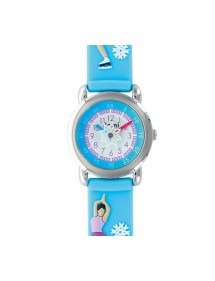 """Ice skater"" girl's watch, metal case and sky blue silicone strap 753987 DOMI 39,90 €"