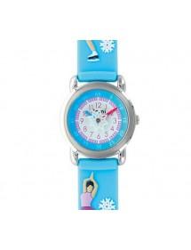 """Montre fille """"Patineuse sur glace"""" boîtier métal et bracelet silicone bleu ciel 753987 DOMI 39,90€"""