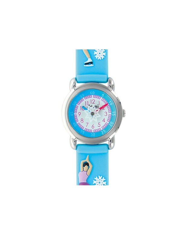 """""""Ice skater"""" girl's watch, metal case and sky blue silicone strap 753987 DOMI 39,90€"""