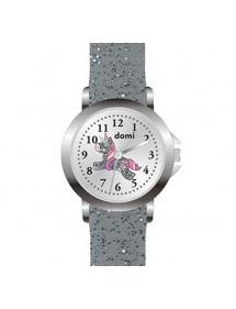 Girls' watch, metal case, dial with unicorn and glittery gray plastic strap 753988 DOMI 39,90 €