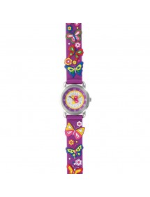 "Girl's watch ""butterflies"" metal case and purple silicone strap 753986 DOMI 39,90 €"