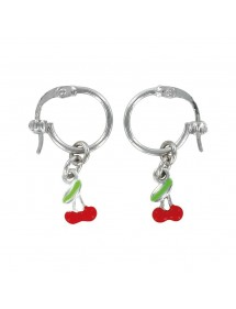 Creole earrings with red cherry in rhodium silver 313287 Suzette et Benjamin 29,90 €