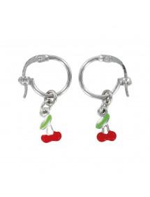 Créoles avec pendants cerise rouge en argent rhodié 29,90€ 29,90€