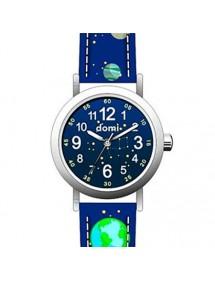 """Montre enfant """"Planètes"""" boîtier métal et bracelet synthétique bleu foncé 753970 DOMI 39,90€"""