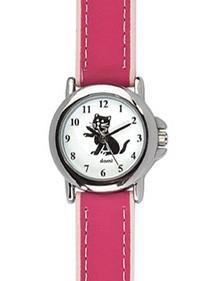 DOMI pädagogische Uhr, Katzenmuster, rosa synthetisches Armband 754896 DOMI 39,90€