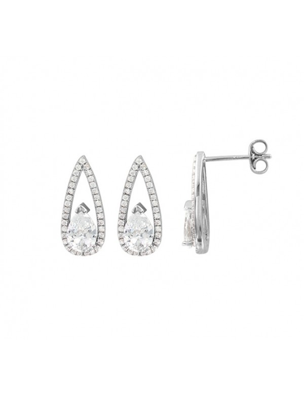 Rhodium silver earrings with white oxide, zirconium oxide drop 313227 Laval 1878 59,90€