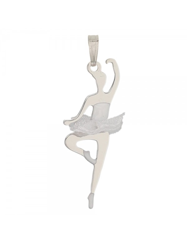 Rhodium-plated silver pendant adorned with a white fabric tutu 31610313 Laval 1878 34,90€