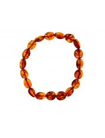 Elastic bracelet with oval cognac amber beads 3180441 Nature d'Ambre 36,00 €