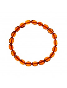 Cognac-colored oval amber elastic bracelet 3180442 Nature d'Ambre 54,00 €