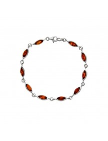 Silver bracelet adorned with oval amber stones 3180452 Nature d'Ambre 79,90 €