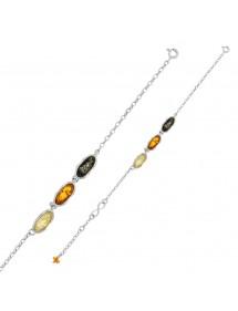 Infinity Armband mit 3 oval Bernstein Steine mit Rhodium Silber Rahmen geschmückt 31812700RH Nature d'Ambre 79,90€