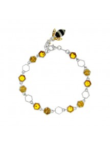 Honey amber honeycomb bracelet adorned with a bee and rhodium silver 31812802 Nature d'Ambre 159,90 €
