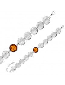 Round bracelet in Amber and rhodium silver with grooves 31812797 Nature d'Ambre 209,00 €