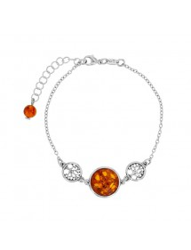 Trees of life bracelet with round stone in Amber and rhodium silver 31812803 Nature d'Ambre 89,90 €