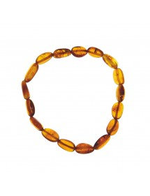 Elastic bracelet in elongated amber cognac color 31812566 Nature d'Ambre 29,90 €