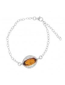 Cognac amber and rhodium silver bracelet 31812564RH Nature d'Ambre 47,50€