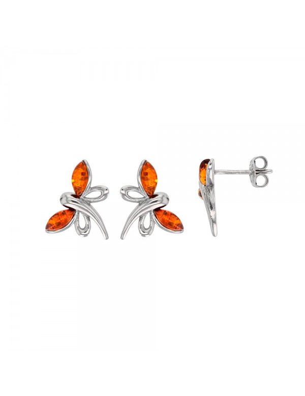 Dragonfly earrings in cognac amber and rhodium silver 3131857RH Nature d'Ambre 36,90€