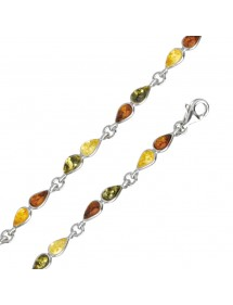 Amber and silver bracelet with stones in the shape of citrine, cognac, green and honey drops 3180531 Nature d'Ambre 72,90€