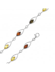 Silver bracelet and openwork links with amber-set stones 3180460 Nature d'Ambre 75,00 €