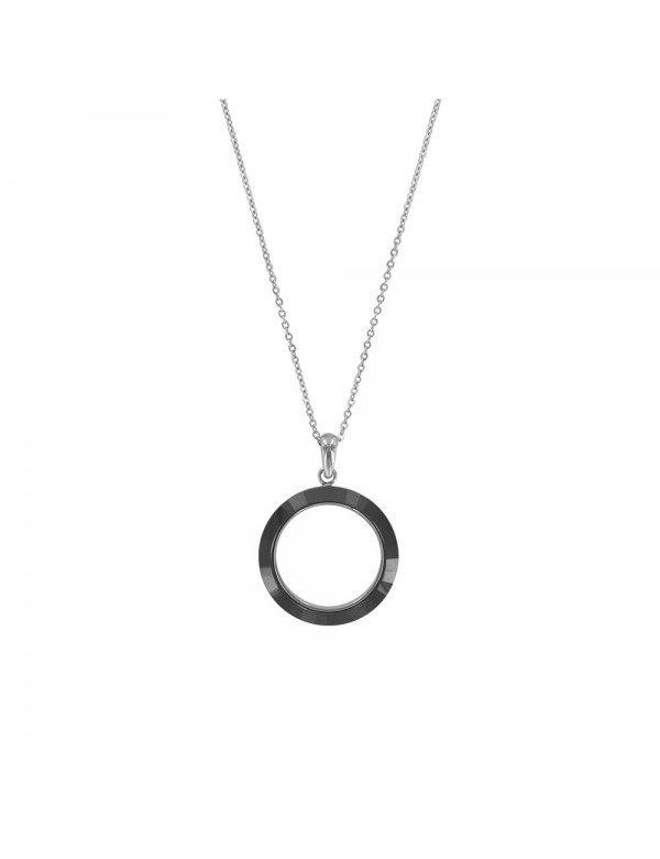 Steel and black ceramic circles necklace - 45 cm 31710250 One Man Show 39,90€