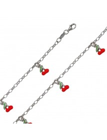 Bracelet en argent rhodié avec des cerises rouge 45,00€ 45,00€