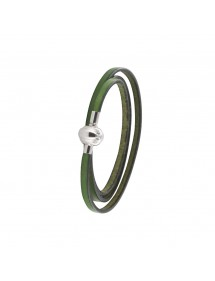 Baci Belli triple wrap bracelet in khaki green cowhide leather with magnetic steel clasp, 50 cm 3181221250 Baci Belli 44,00 €