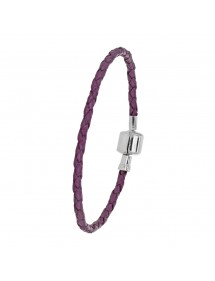 Baci Belli bracelet with purple braided cord in bovine leather with steel clip clasp, 18.5 cm 3181031MA Baci Belli 49,90 €