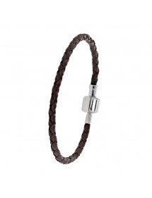 Baci Belli brown braided cord bracelet in bovine leather with steel clip clasp, 18.5 cm 3181031M Baci Belli 49,90 €