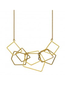 Woman's necklace with square geometric shapes in golden steel 317078D One Man Show 45,90€