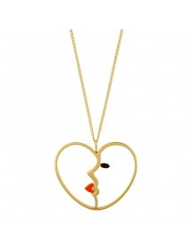 Heart necklace in openwork golden steel with woman's face in enamel 317077D One Man Show 39,90€