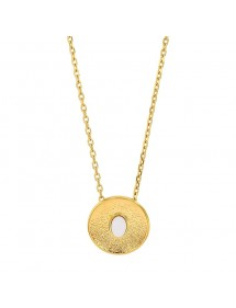 Necklace in hammered golden steel and white synthetic stone 317673B One Man Show 35,00€