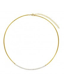 Rigid necklace in golden steel and white crystals 317681D One Man Show 54,50€