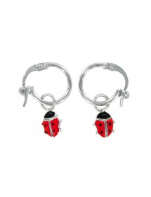 Earrings rhodium silver earrings with red ladybug pendant 313285 Suzette et Benjamin 32,00 €