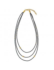 Necklace 3 rows pearls in black crystals and golden steel 317096 One Man Show 62,00€