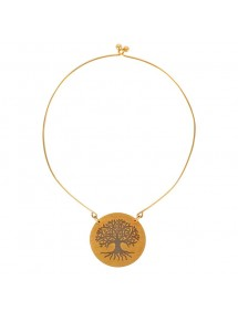 Rigid necklace in golden steel with tree of life motif 317423G One Man Show 56,00€
