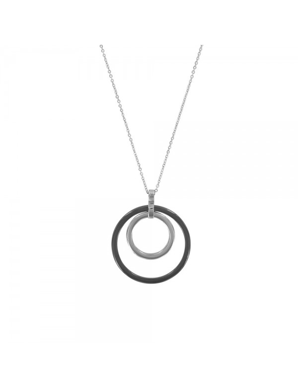 Steel necklace adorned with a large black ceramic circle and a small steel 31710252 One Man Show 36,90€