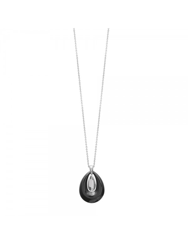 Oval steel necklace in black ceramic and steel 3171090 One Man Show 34,90€