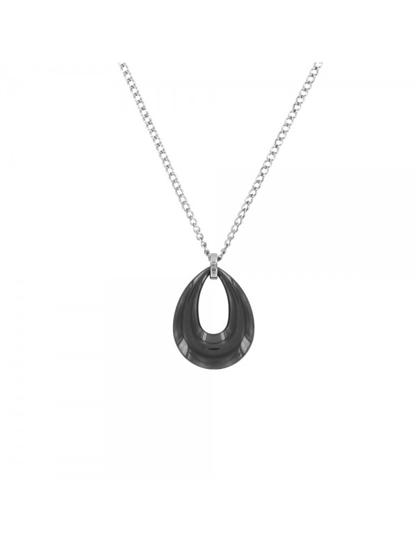 Necklace in the shape of a hollow water drop in black ceramic and steel 31710113N One Man Show 39,90€