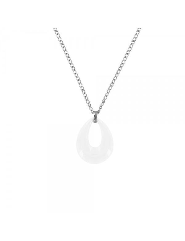Necklace in the shape of a hollow water drop in white ceramic and steel 31710113B One Man Show 39,90€