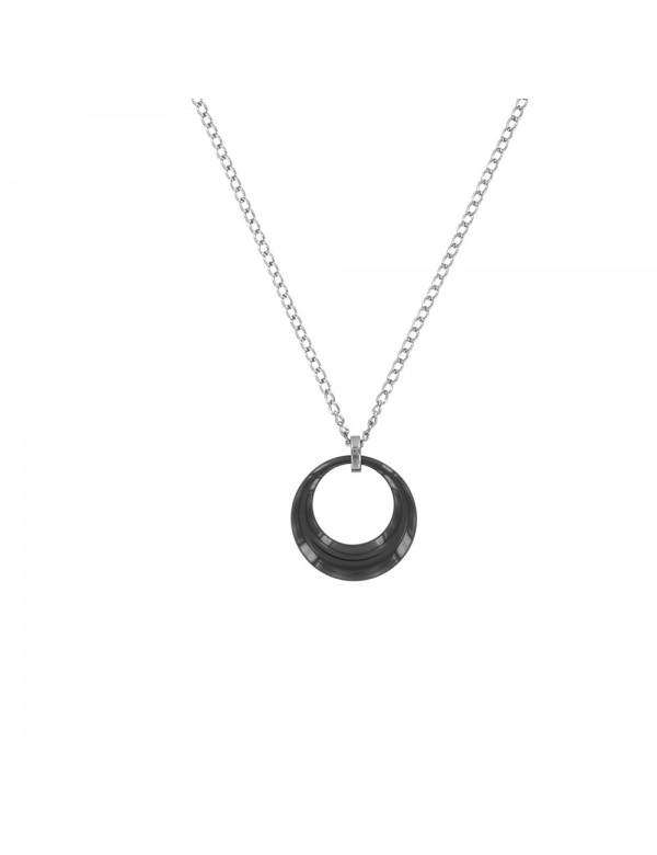 Steel necklace with a hollow circle in black ceramic 31710112N One Man Show 32,90€