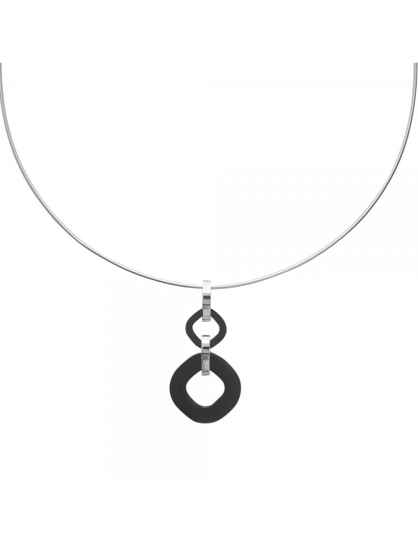 Very chic necklace in steel and black ceramic - 42 cm 3171087 One Man Show 52,00€