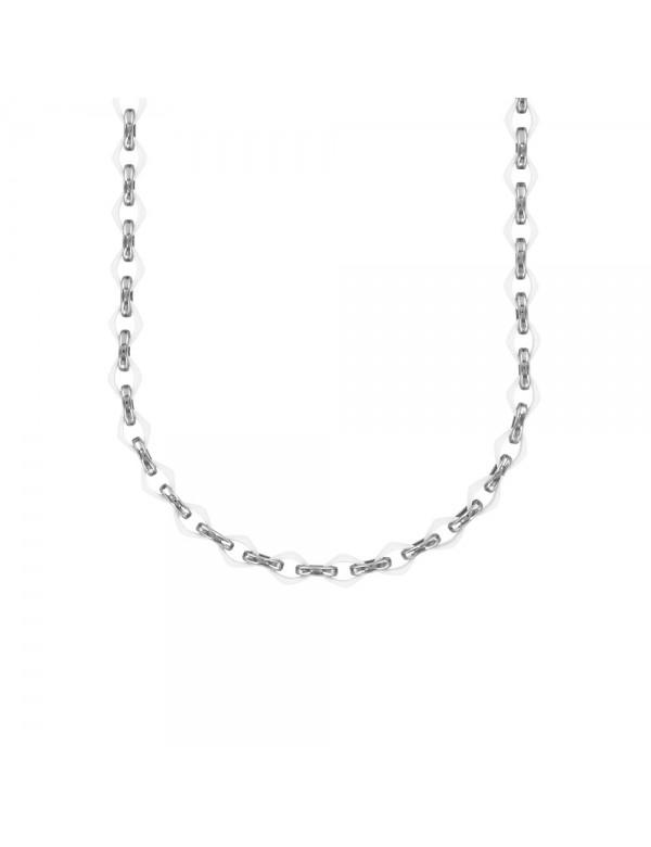 Ceramic diamond necklace linked by steel links 31710124B One Man Show 79,90€