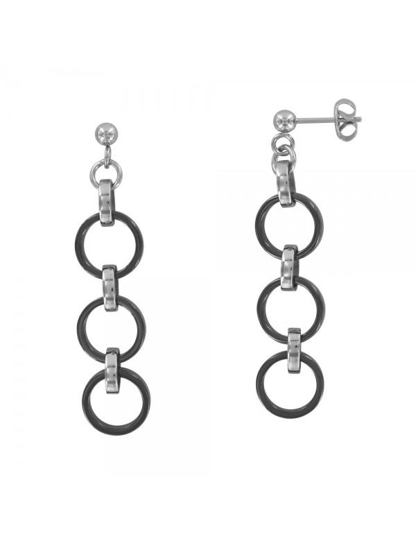 steel earrings with 3 black ceramic circles 3131160N One Man Show 32,90€