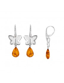 Double butterfly earrings in rhodium silver with cognac amber stone 3130066 Nature d'Ambre 102,00 €