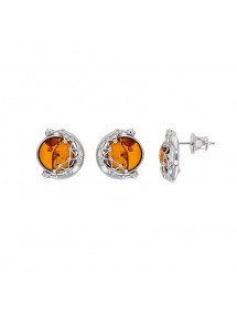 Rhodium silver moon stud earrings and cognac amber ball 3130068 Nature d'Ambre 82,00 €