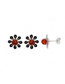 Cognac amber flower and black enamel earrings in rhodium silver 3130063 Nature d'Ambre 69,90 €