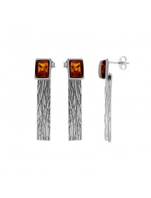 Amber and rhodium plated silver pendant earrings 31318192 Nature d'Ambre 80,90 €