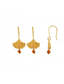 Ginkgo leaf earrings with cognac amber ball pendant, gilded silver 31318242 Nature d'Ambre 52,00 €