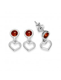 Round amber stone earrings with rhodium silver heart pendant 31318198 Nature d'Ambre 34,90 €