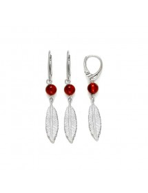 Small cognac amber ball and feather earrings in rhodium silver 31318226 Nature d'Ambre 54,90 €